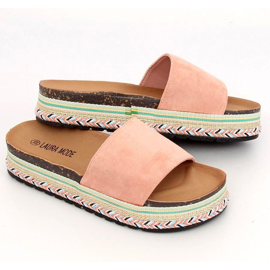 Klapki Na Wysokiej Podeszwie Rozowe Ls 117 Pink Womens Slippers Slip On Sandal Women Shoes