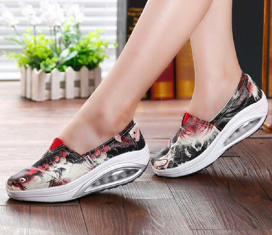Red snapper fish print slip on rocker bottom shoe sneaker
