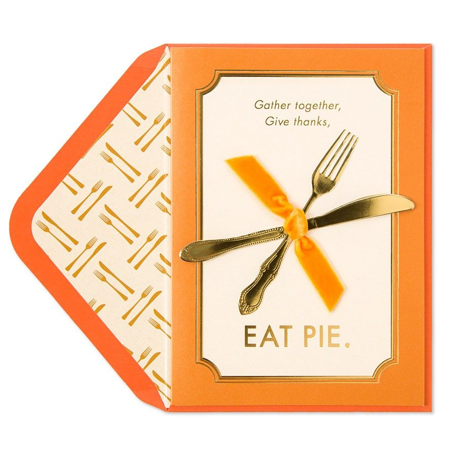 Gold embossed utensils are the star of this Thanksgiving card accented with a velvet orange ribbon.
