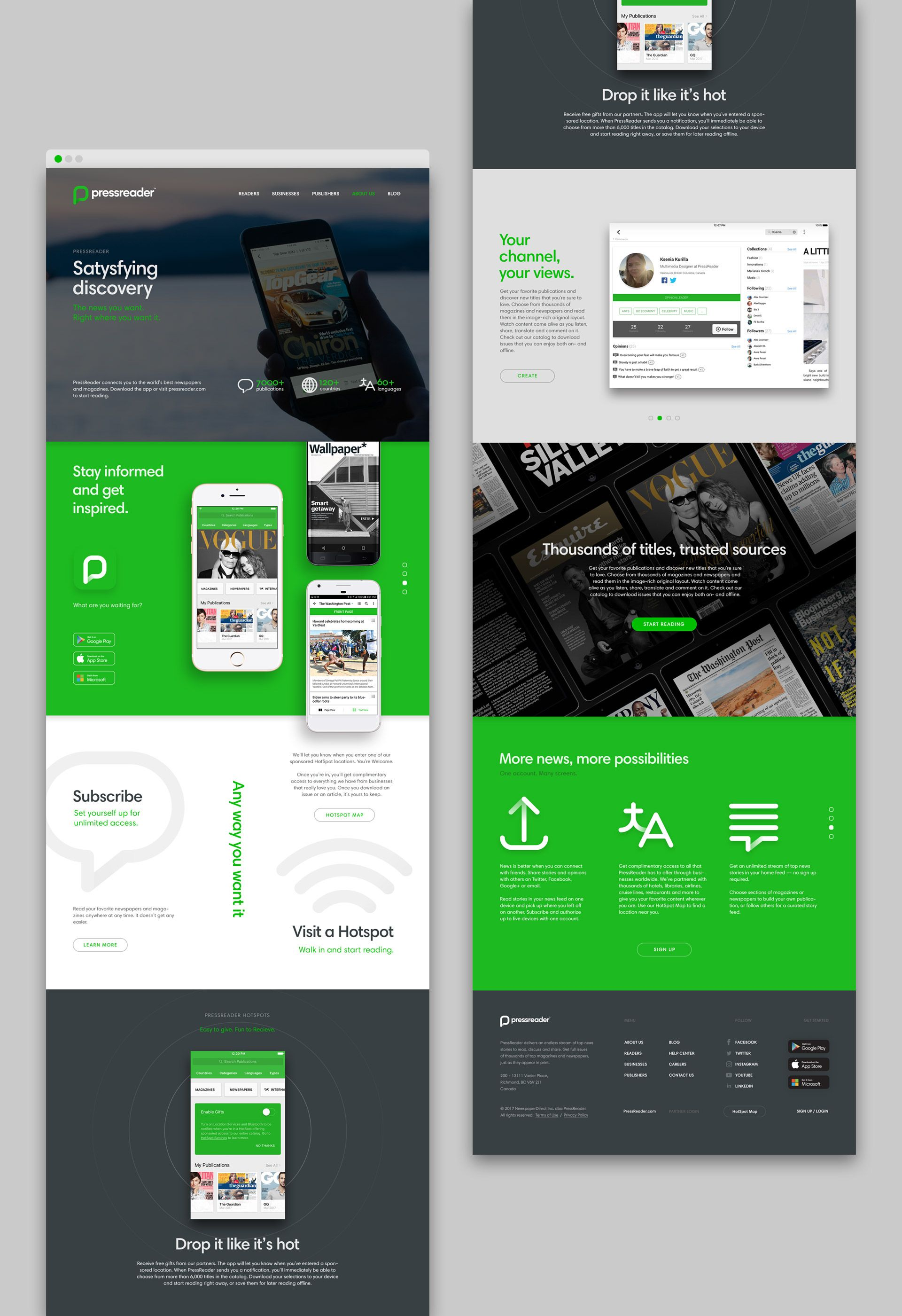 f6148b4ae72e3 PressReader on Behance Website Layout, Online Portfolio, Brand Identity,  Design Web, Corporate