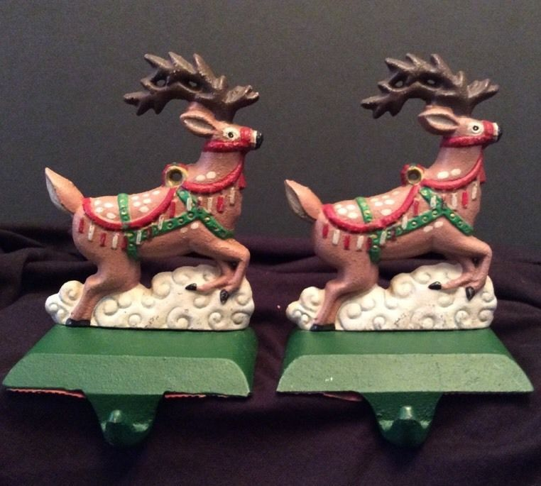 2 Reindeer Christmas Stocking Holder Cast Iron Midwest Lot