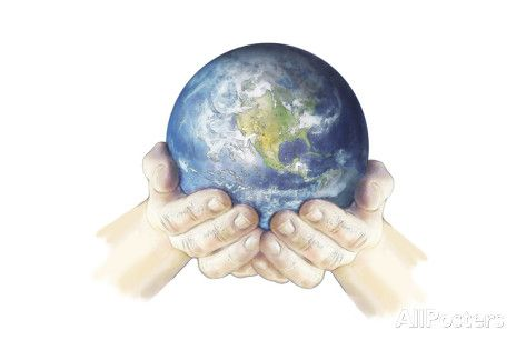 hands holding planet earth globe white background poster