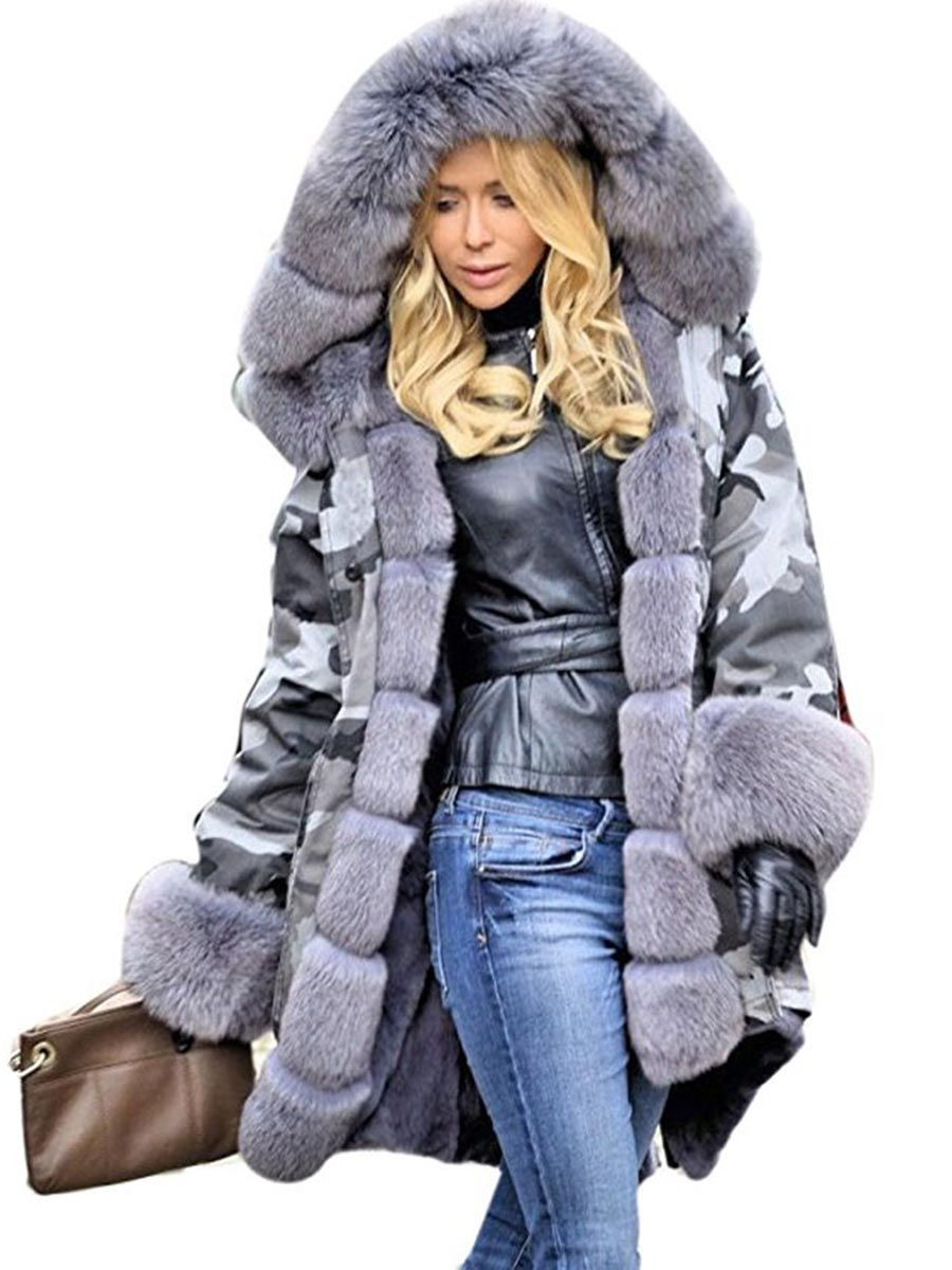 0ad7f13a8020f Ericdress Fur Camouflage Mid-Length Hooded Coat|Pattern:Camouflage ...