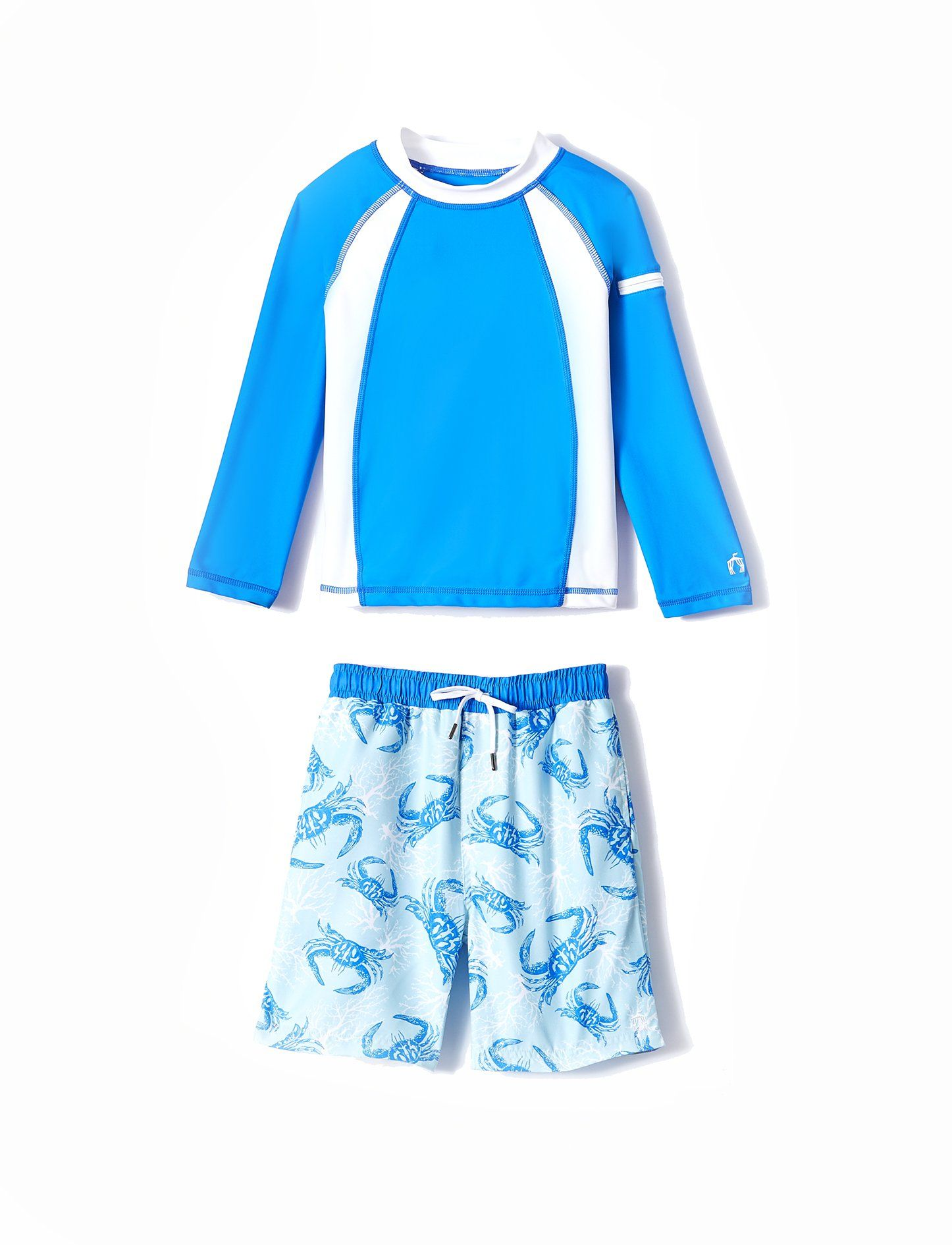 Cabana Life-Boys Blue Crabs Rashguard Set, 50+ UV Protection