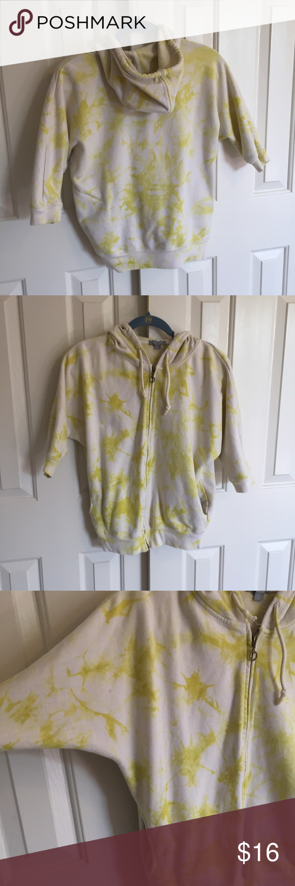 Tie Dye Hoodie delia's yellow tie dye hoodie with quarter sleeves. size small, excellent condition. Wing style sleeves, go a little past the elbow. comfortable material! Forever 21 Tops Sweatshirts & Hoodies