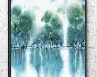 Peinture Abstraite D Aquarelle De Paysage Art Moderne D