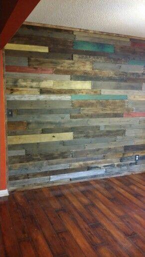 Rustic reclaimed wood wall