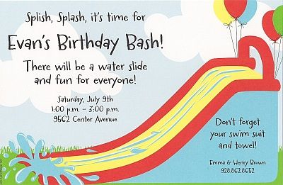 Bouncy water slide invitation party ideas pinterest water bouncy water slide invitation stopboris Gallery