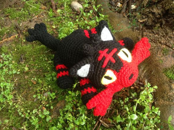 Pokemon Inspired: Alola Starter Litten the Fire by TheTallGrass Handmade plushie (in crochet Amigurumi style) of the newest fire starter, Litten, from Pokemon Sun/Moon!   Litten measures 12in long, 5in tall and 7.5in wide. She is stuffed with polyfil stuffing and her eyes/detailing are needle-felted on.