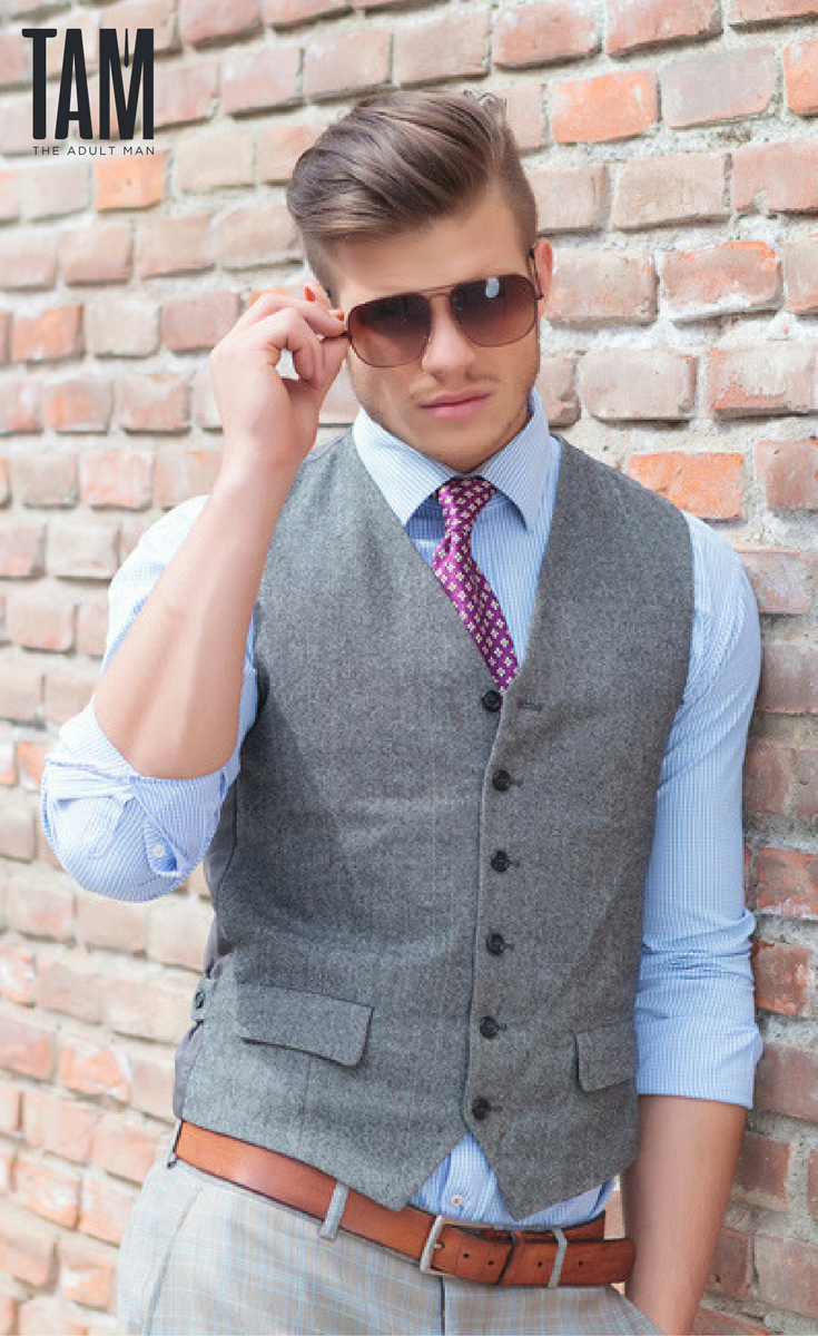 Classy Fall business outfit featuring vest, pink tie, blue ...