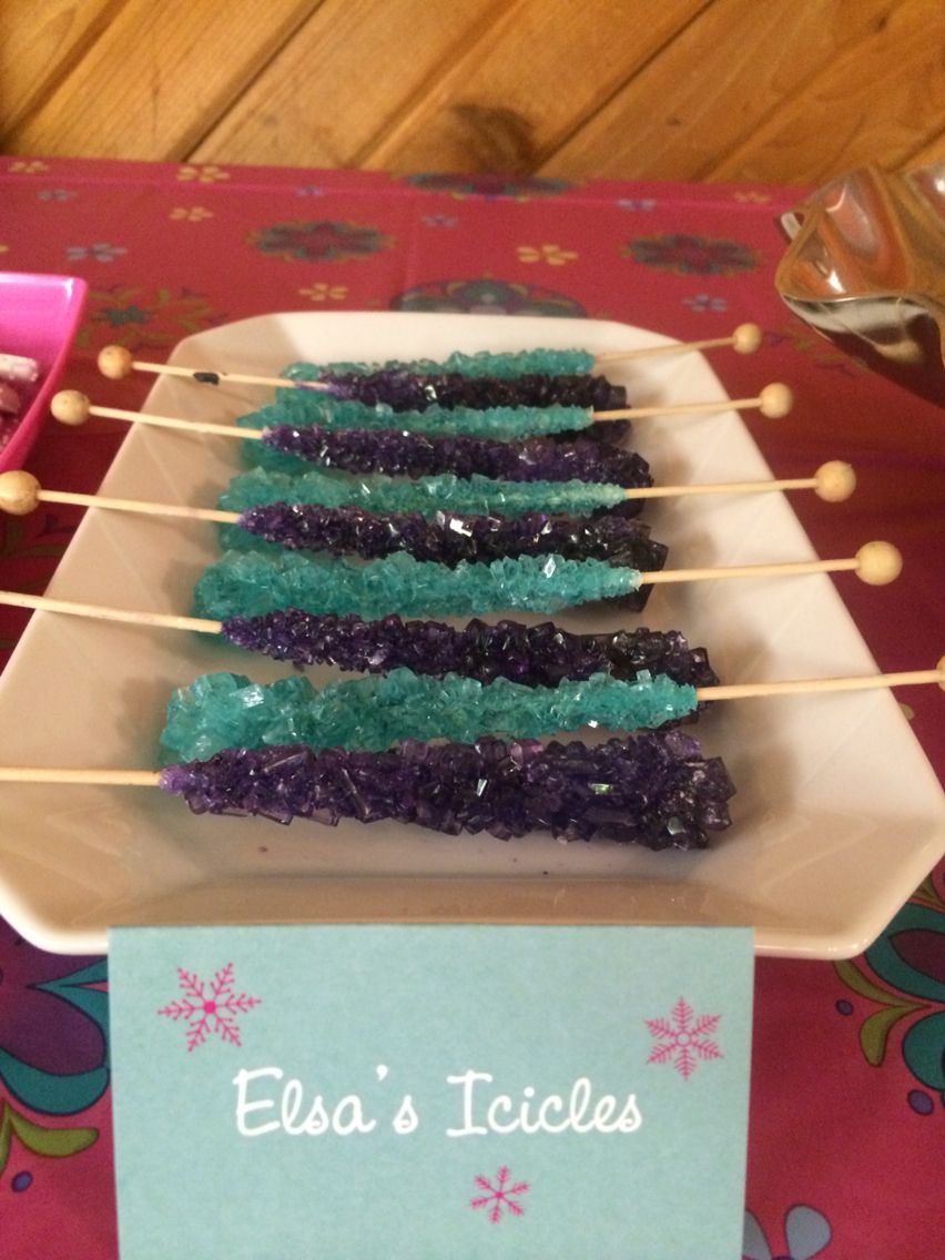 Rock Candy from Party City used to make Elsa's icicles or ice wands.