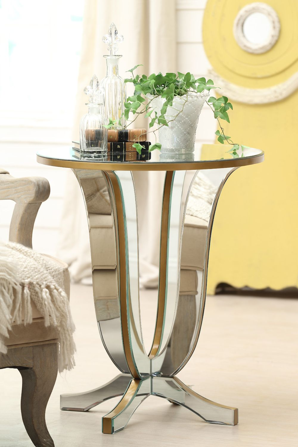 glass end tables for living room. White Throw Blanket On Living Room Chair Furniture Feat Amazing Round Side  Table With Ivy Display Accent Your Interior with Fancy Attractive Mirrored Subtract And Curve Leg