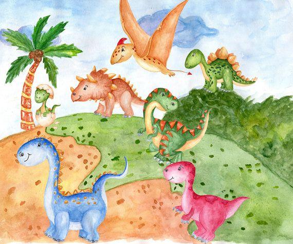 Watercolor Dinosaur Clipart Cute Dinosaur Kids Clipart Dinosaur