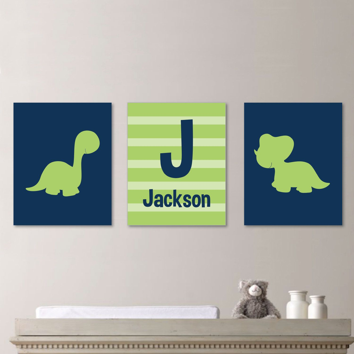 Baby Boy Nursery Art - Dinosaur Nursery Art - Dinosaur Nursery Print - Dinosaur Bedroom Art - Custom Name Print - Green Navy Blue (NS-190)