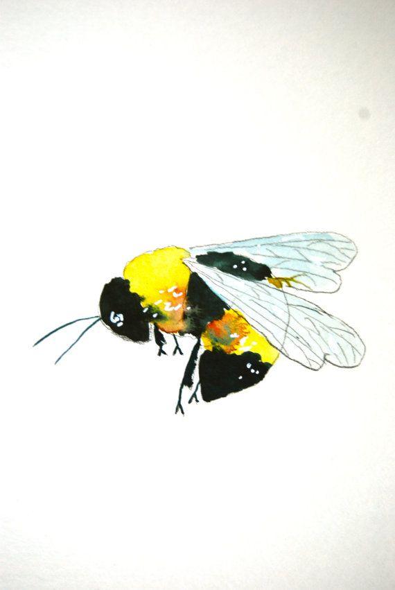 Watercolor Painting Bee Painting Bumble Bee Original by WoodPigeon, $20.00