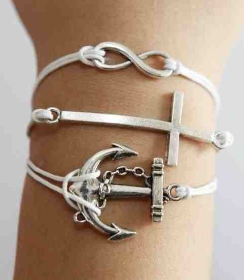 Infinity, Anchor & Cross White Wax Chord Bracelet