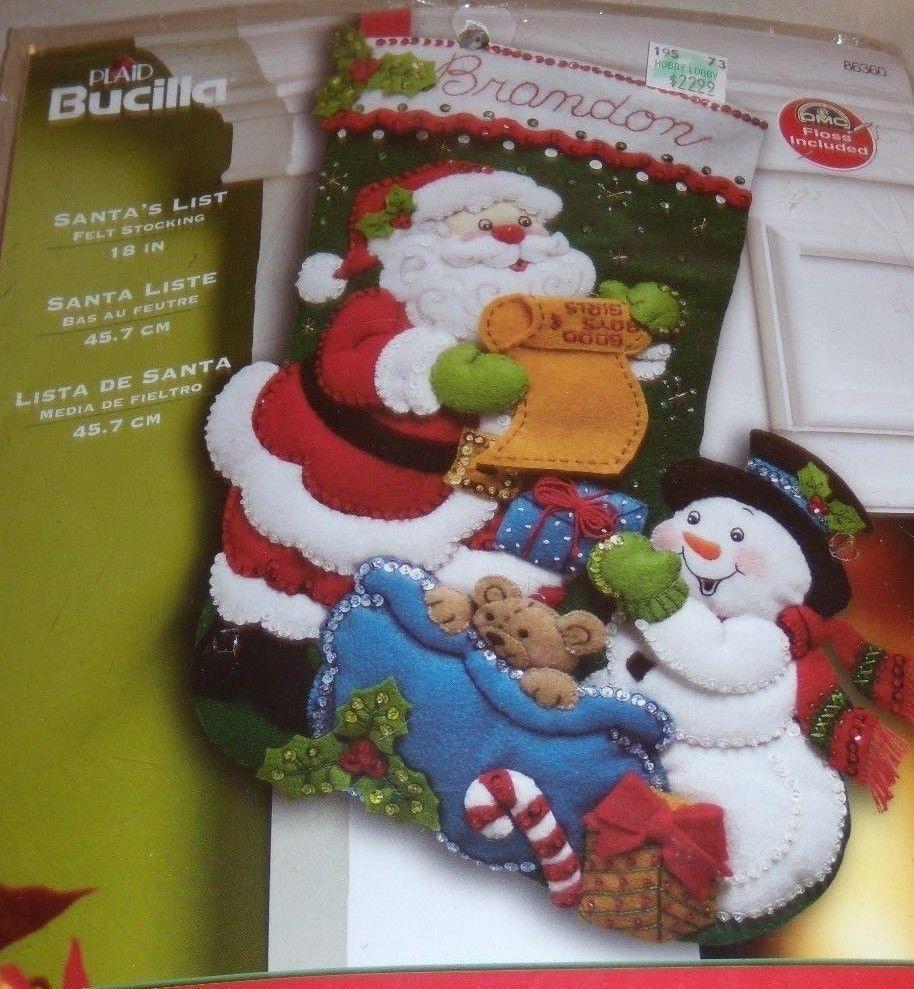 Bucilla Christmas Stocking Felt Applique Kit Santas List 86360 ...
