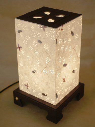 Papier Lampe Asien Handarbeit Blumen Schöne dekorative Lampe aus