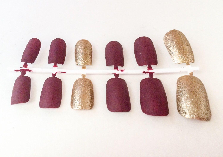 Matte Fake Nail Set - Red False Nails - Gold Acrylic Nails - Glitter ...
