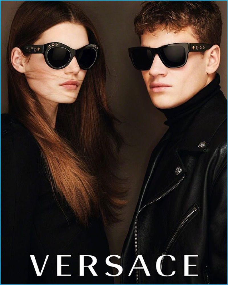 6219bd93fda0 Models Sophie Rask and Matty Carrington front Versace s fall-winter 2016  eyewear campaign.