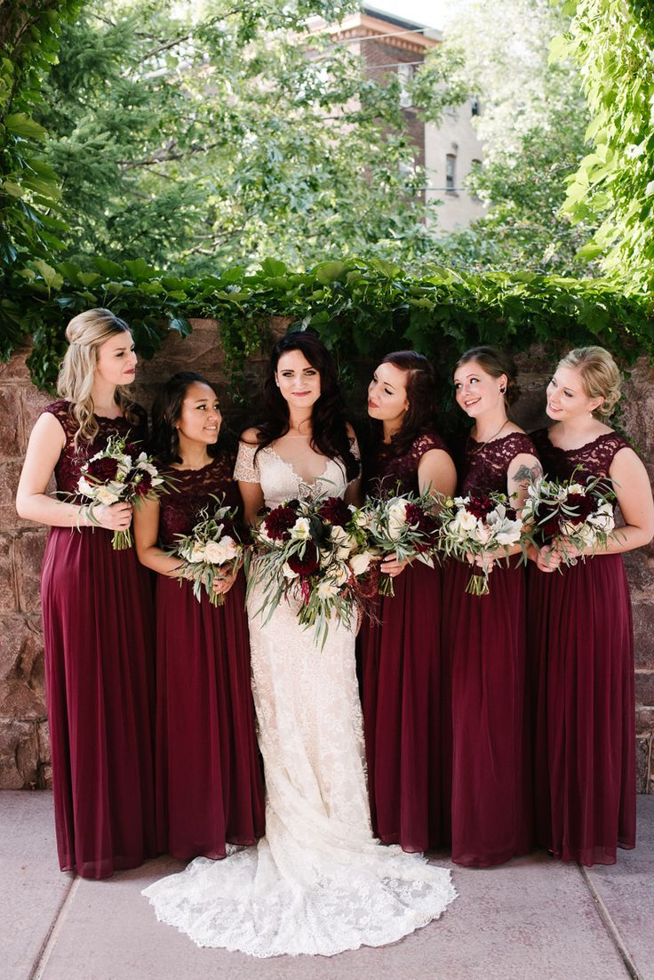 Wine white weddings wedding and wedding dress for Winter wedding colors for bridesmaids dresses