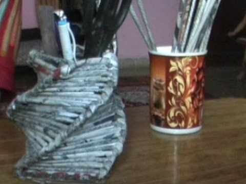 Use waste newspaper to make beautiful pen holder youtube for To make useful things from waste materials