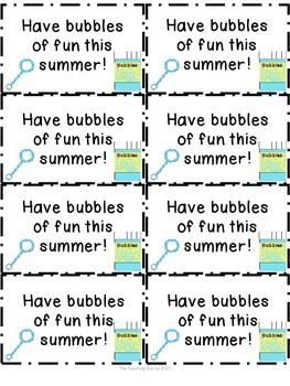 Freebie End Of Year Summer Bubbles Of Fun Tags End Of School