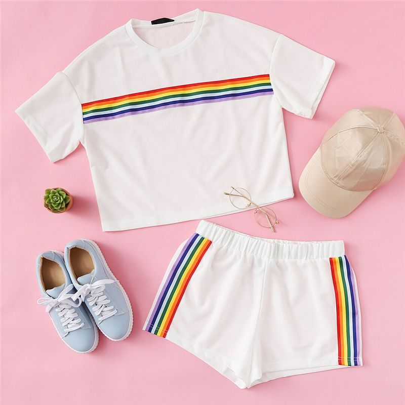 7600d80fe96 Cheap Women's Sets, Buy Directly from China Suppliers:SweatyRocks Rainbow  Print Tee & Shorts Two Piece Set Round Neck Short Sleeve Women Outfits  Summer ...