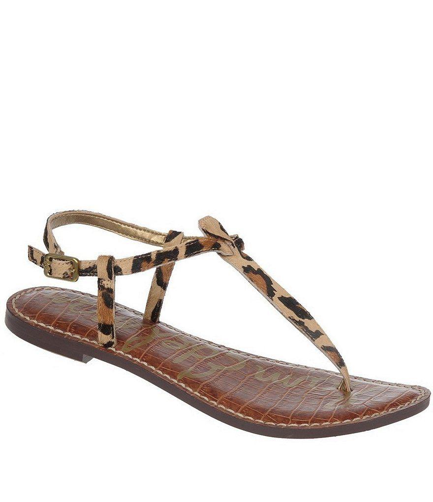 Sam Edelman Gigi Leopard-Print Calf Hair T-Strap Sandals gCEFdw8i3