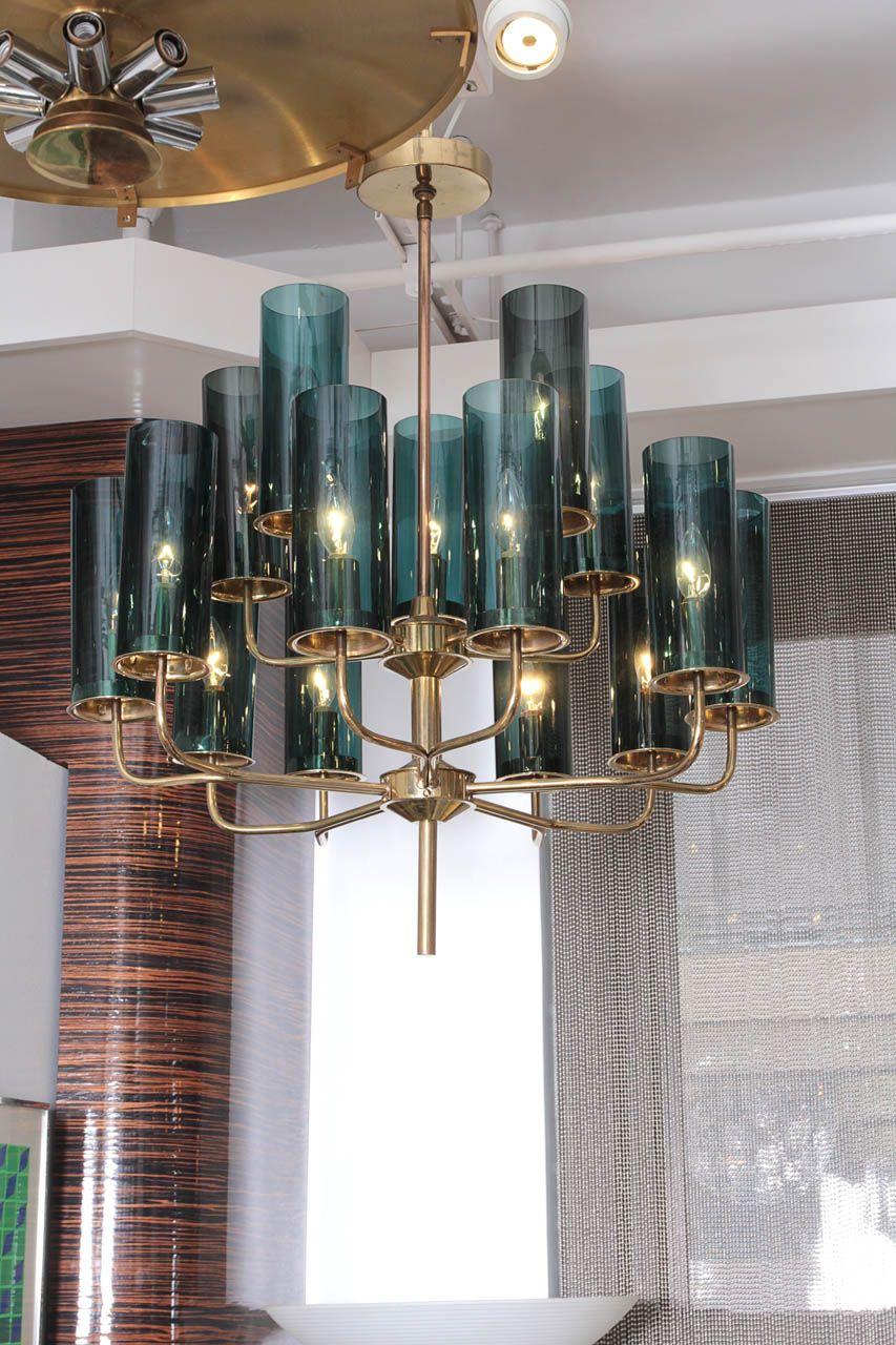 Brass blue glass tube chandelier by hans agne jakobsson pendant brass and blue glass tube chandelier by hans agne jakobsson chandelier pendant lightssquare arubaitofo Choice Image