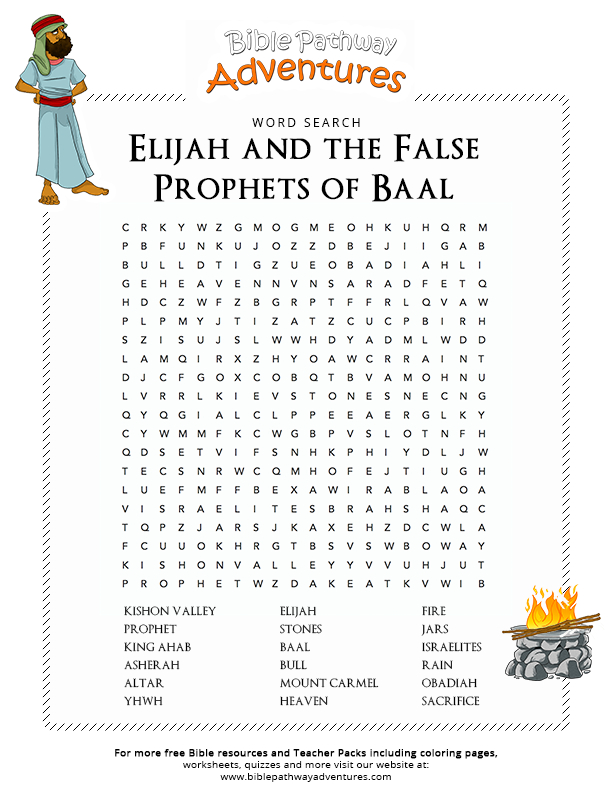 Free Bible Word Search Elijah And The False Prophets Of