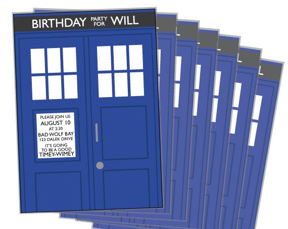 Doctor Who Birthday TARDIS Invitation – Doctor Who Party Invitations