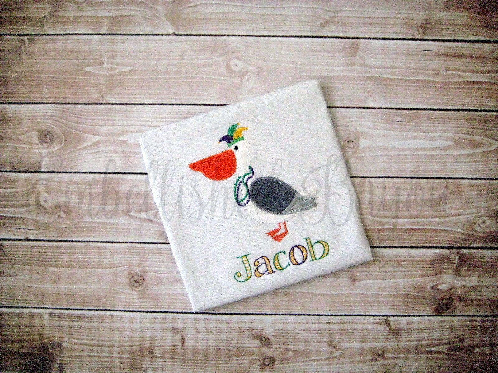 Zigzag stitch mardi gras pelican applique personalized onesie or t