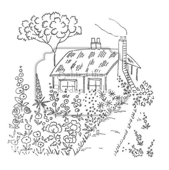 Hand Embroidery Transfer Pattern PDF English Cottage