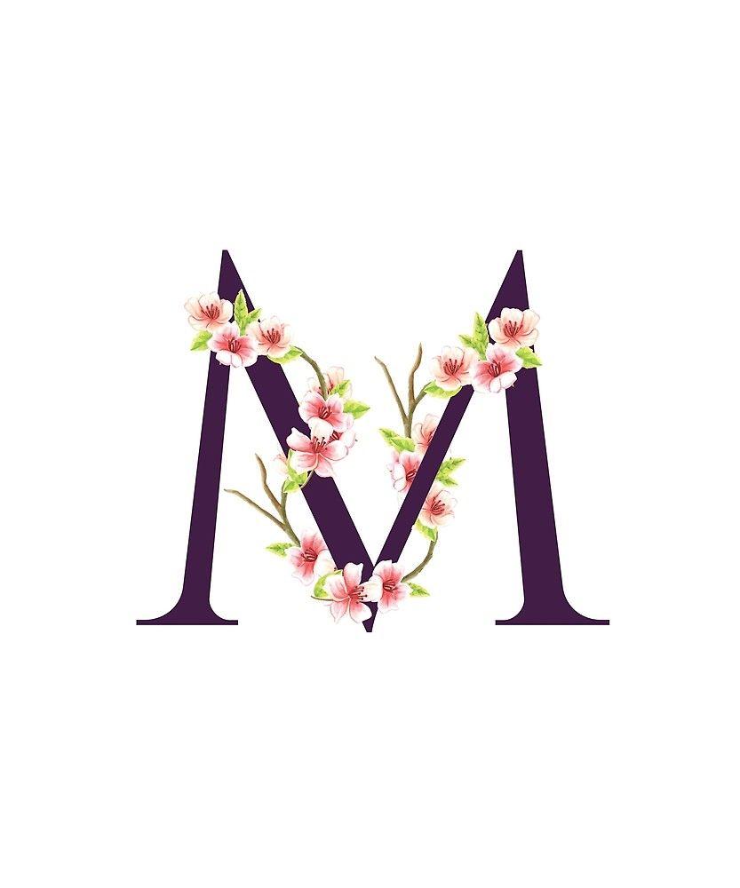 Monogram M Pretty Pink Cherry Blossoms Sticker By Floralmonogram Decorative Letters Canvas Letters Cherry Blossom