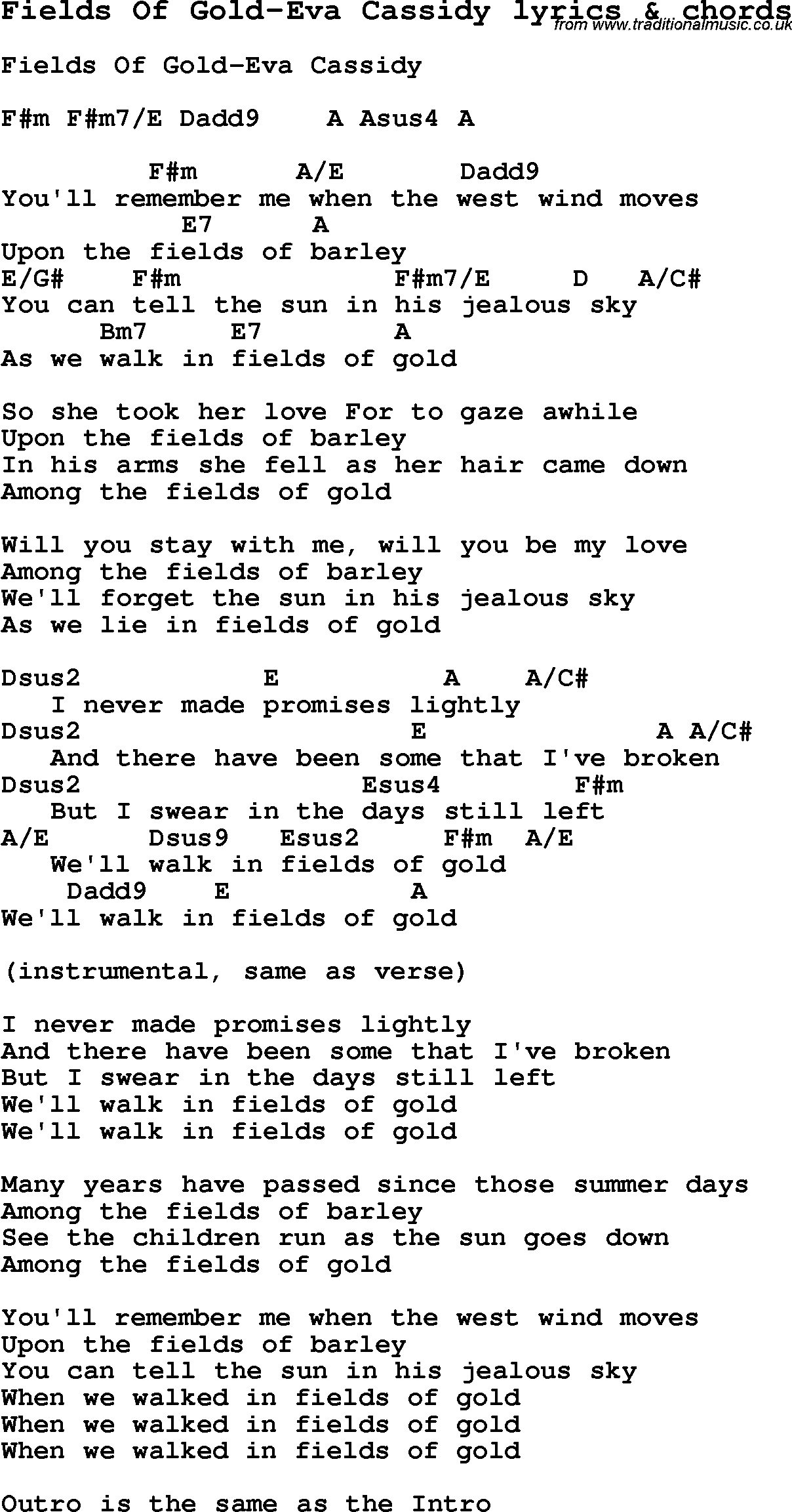 Love Song Lyrics For Fields Of Gold Eva Cassidy With Chords For