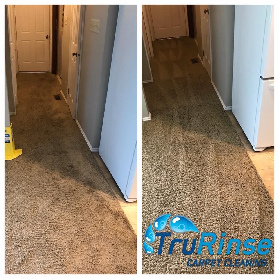 Before & After pictures of cleaning hallway carpet