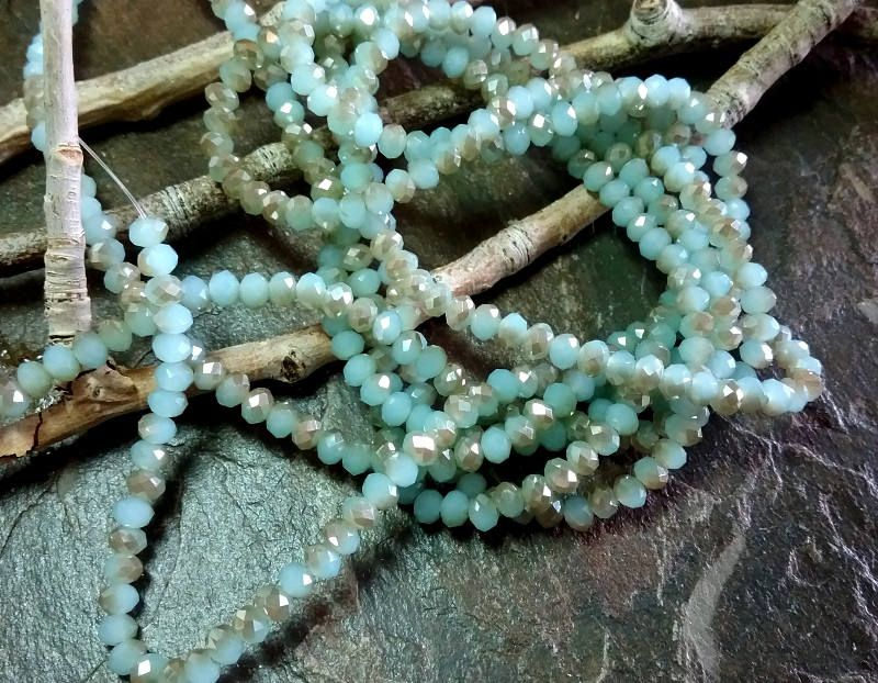 Crystal Rhondelle, 3x4mm, Opal Mint with a Champagne Luster, Tiaria Crystal, 70 pieces per Strand, 7-8 Inch Strand, Priced per Strand by DragonflyBeadsStudio on Etsy