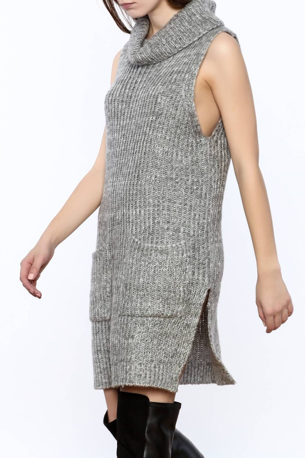 6eac2ffa91d79 Heather grey sleeveless turtleneck tunic sweater with two front pockets and  side slits. Sleeveless Turtleneck Sweater by Lush. Clothing - Sweaters ...