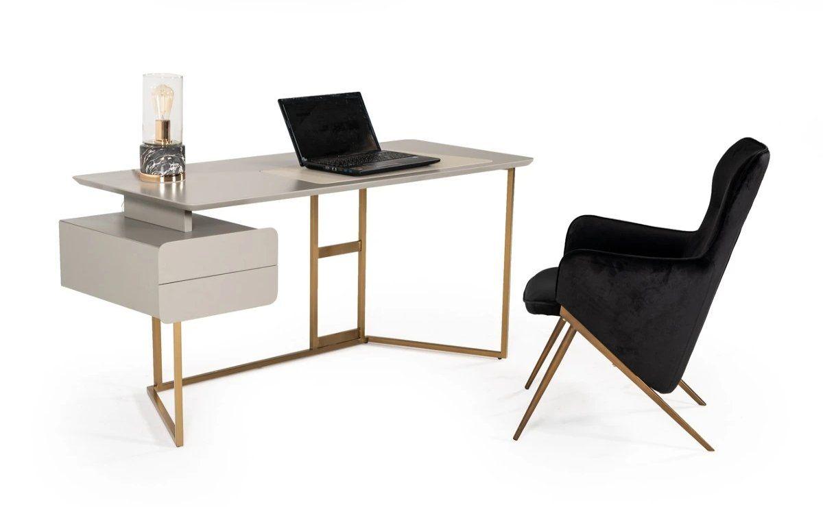Dermen Modern Grey & Bronze Desk
