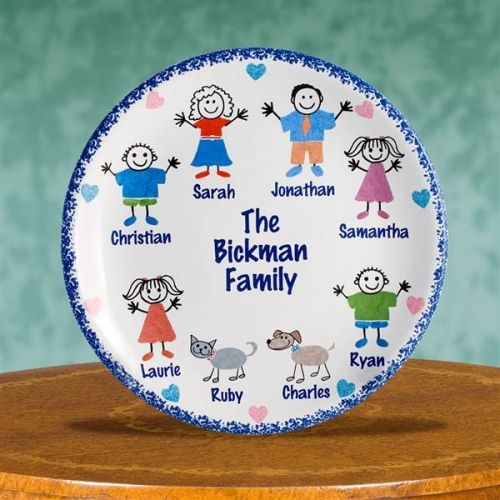 #MothersDay Personalized Porcelain Family Heirloom Keepsake Plates. Cherish Family Memories Forever! Mom will love our personalized Family Plate. Each plate can be decorated with up to eight Characters. We have characters like dogs & cats, birds, Mom & Dad. The plate is shipped with a FREE plate stand. A Special Mother's Day Gift! This porcelain plate makes an extra special gift for any mom. This piece is sure to become a treasured family heirloom.