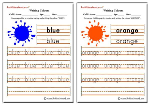 Colour Words Worksheets Writing Color Names Tracing Color Words Identifying Colours And Colour Words T Writing Worksheets Teaching Colors Spelling For Kids - 45+ Colour Name Worksheets For Kindergarten Pictures