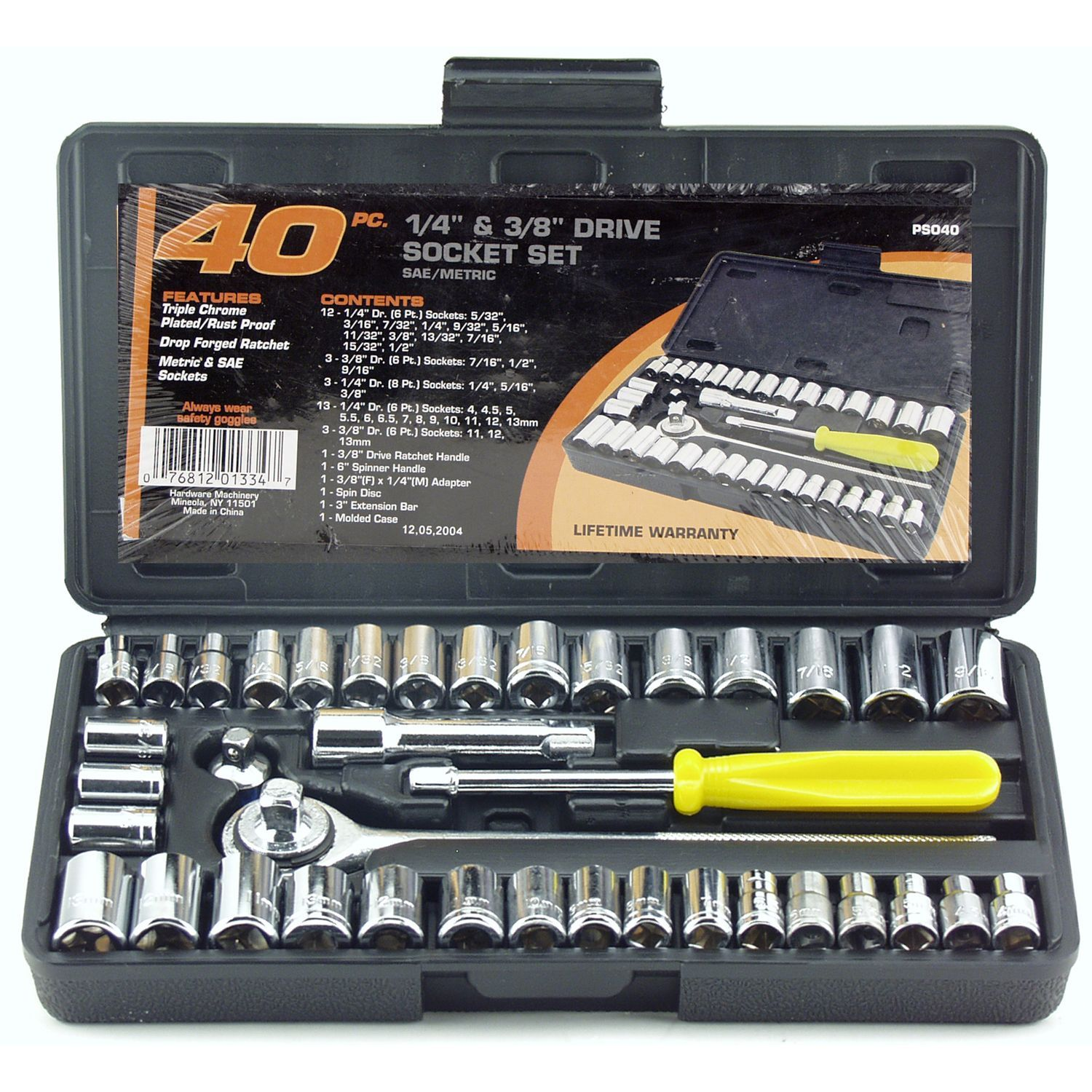Great Neck Saw PSO40 Drive Socket Set 1//4-Inch and 3//8-Inch Drive 40-Piece