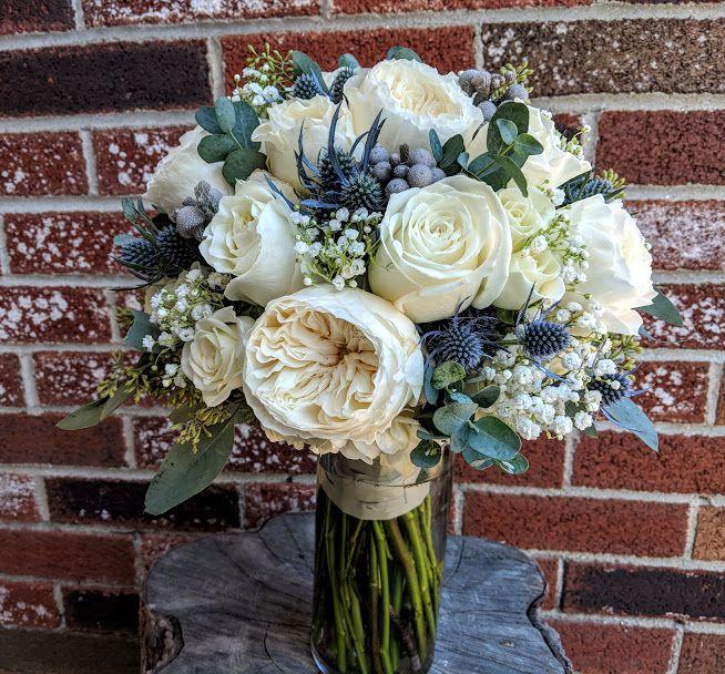 White Cloud Garden Roses, Thistle, Eucalyptus