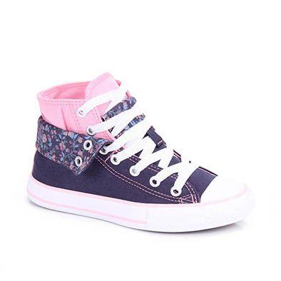 Tênis Casual Infantil Feminino Converse All Star Ck5023 Floral Tam 26 Ao 34 - Marinho