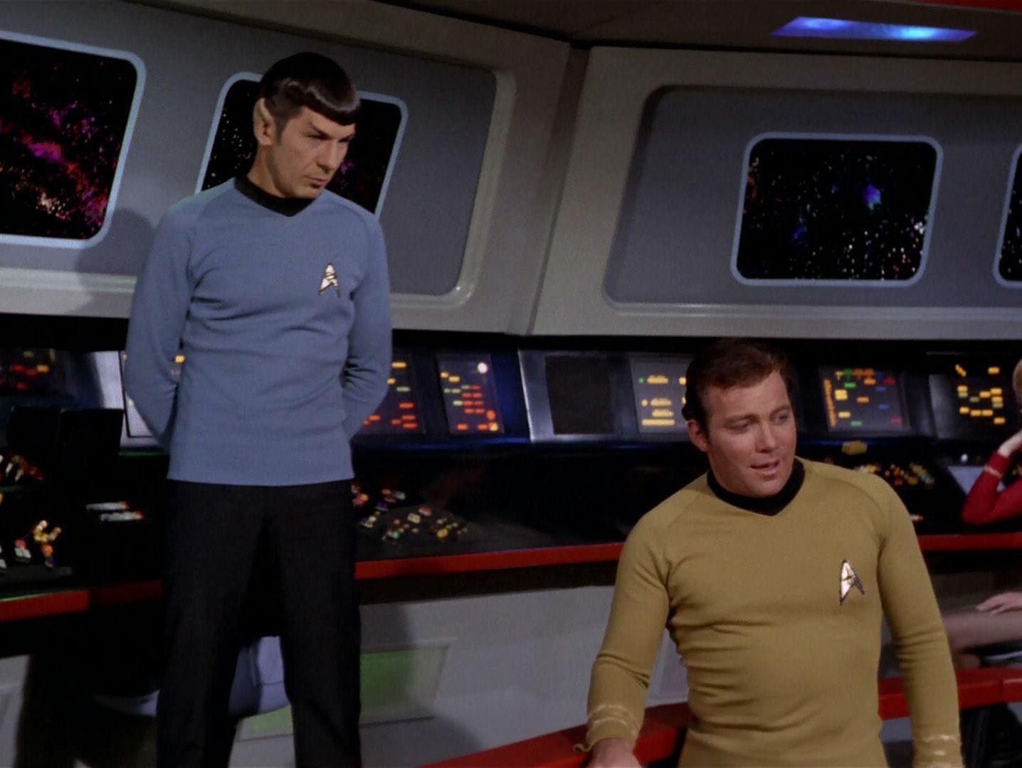 Mr. Spock (Leonard Nimoy) & Captain Kirk (William Shatner) - Star Trek: The Original Series S03E20: The Way to Eden (First Broadcast: February 21, 1969)