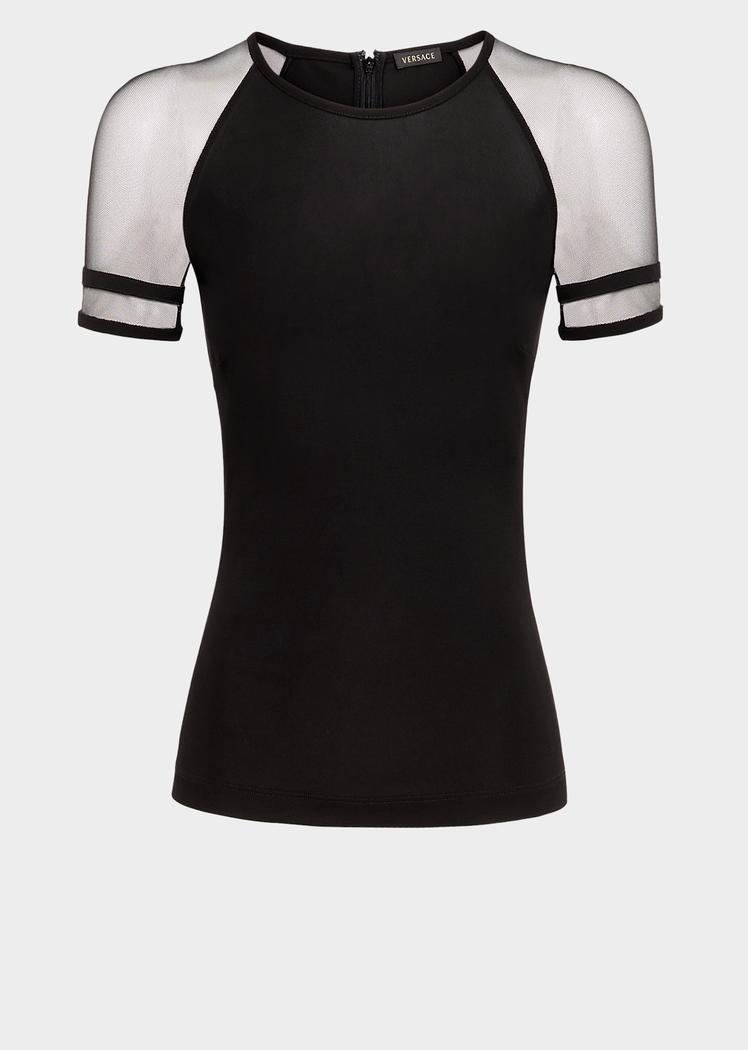 74e2aa1828e8a Tulle Sleeve Jersey Top - black Blouses   Tops