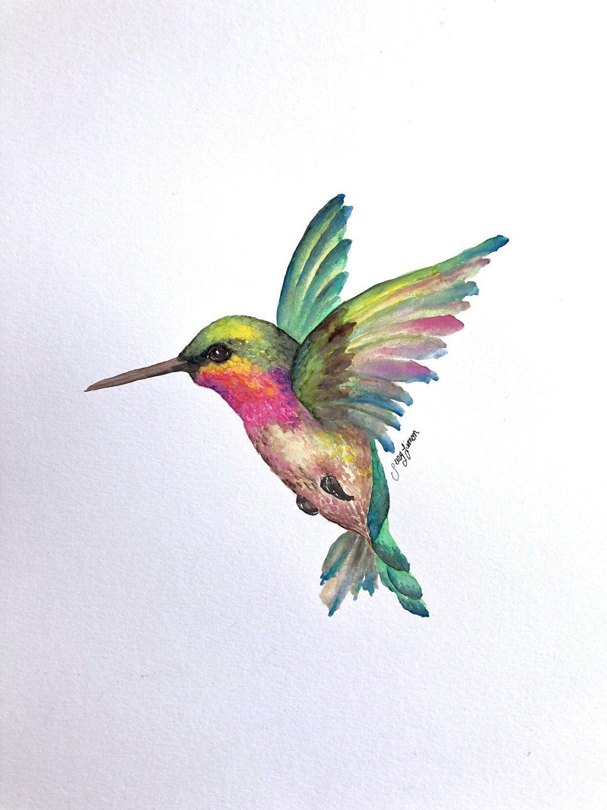 "Photo of Original Watercolor painting Hummingbird 11 ""x14"" handmade art"