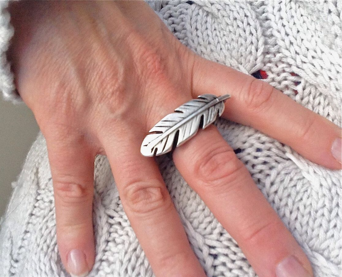 Feather Ring , Leather Band , Leather Ring , Big Ring , Hipster Ring ...