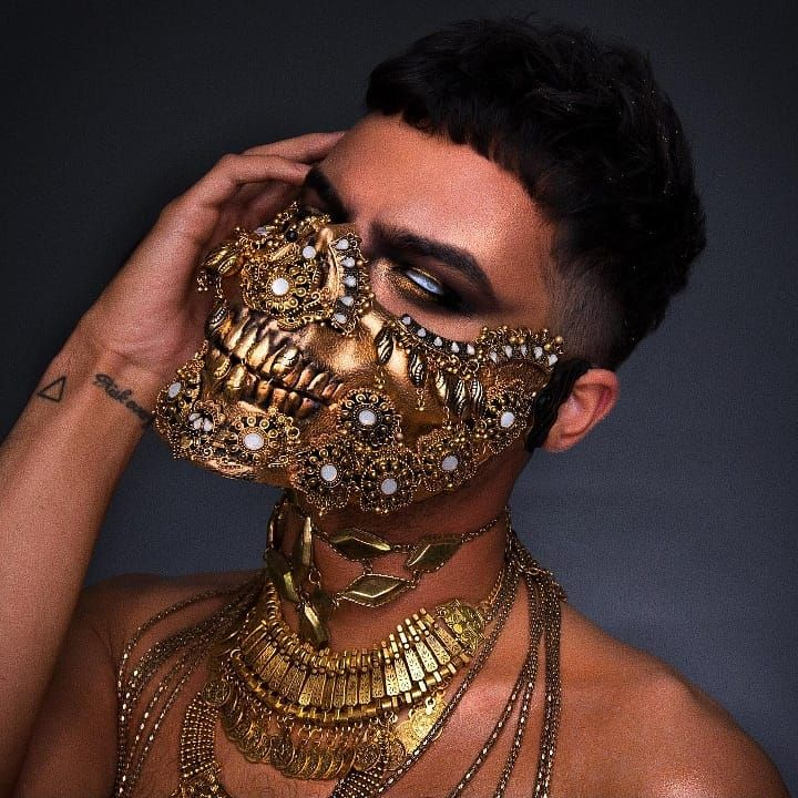 TRIBAL Skull Mask in 2020 Rave mask, Skull mask, Makeup